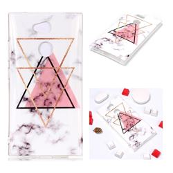 Inverted Triangle Powder Soft TPU Marble Pattern Phone Case for Sony Xperia L2