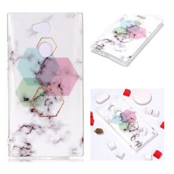 Hexagonal Soft TPU Marble Pattern Phone Case for Sony Xperia L2