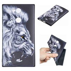 Lion 3D Embossed Relief Black TPU Cell Phone Back Cover for Sony Xperia L2