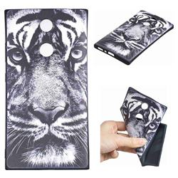 White Tiger 3D Embossed Relief Black TPU Cell Phone Back Cover for Sony Xperia L2