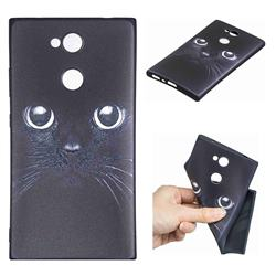 Bearded Feline 3D Embossed Relief Black TPU Cell Phone Back Cover for Sony Xperia L2