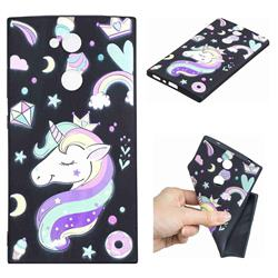 Candy Unicorn 3D Embossed Relief Black TPU Cell Phone Back Cover for Sony Xperia L2
