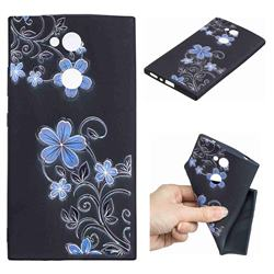Little Blue Flowers 3D Embossed Relief Black TPU Cell Phone Back Cover for Sony Xperia L2