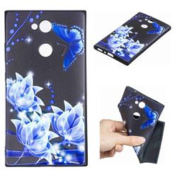 Blue Butterfly 3D Embossed Relief Black TPU Cell Phone Back Cover for Sony Xperia L2