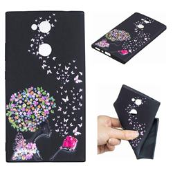 Corolla Girl 3D Embossed Relief Black TPU Cell Phone Back Cover for Sony Xperia L2