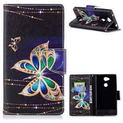 Golden Shining Butterfly Leather Wallet Case for Sony Xperia L2
