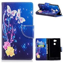 Yellow Flower Butterfly Leather Wallet Case for Sony Xperia L2