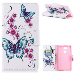 Peach Butterflies Leather Wallet Case for Sony Xperia L2