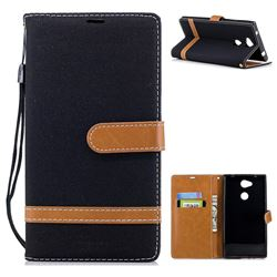 Jeans Cowboy Denim Leather Wallet Case for Sony Xperia L2 - Black