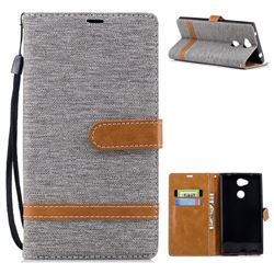 Jeans Cowboy Denim Leather Wallet Case for Sony Xperia L2 - Gray