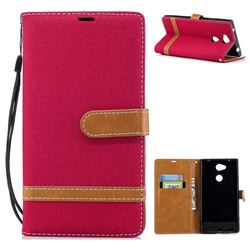 Jeans Cowboy Denim Leather Wallet Case for Sony Xperia L2 - Red