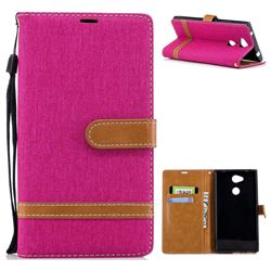 Jeans Cowboy Denim Leather Wallet Case for Sony Xperia L2 - Rose