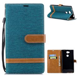 Jeans Cowboy Denim Leather Wallet Case for Sony Xperia L2 - Green
