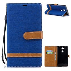 Jeans Cowboy Denim Leather Wallet Case for Sony Xperia L2 - Sapphire