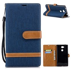 Jeans Cowboy Denim Leather Wallet Case for Sony Xperia L2 - Dark Blue