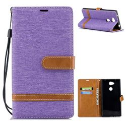 Jeans Cowboy Denim Leather Wallet Case for Sony Xperia L2 - Purple