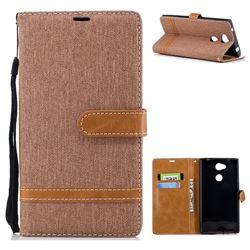 Jeans Cowboy Denim Leather Wallet Case for Sony Xperia L2 - Brown