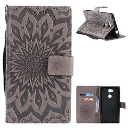 Embossing Sunflower Leather Wallet Case for Sony Xperia L2 - Gray