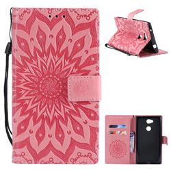 Embossing Sunflower Leather Wallet Case for Sony Xperia L2 - Pink