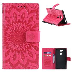 Embossing Sunflower Leather Wallet Case for Sony Xperia L2 - Red