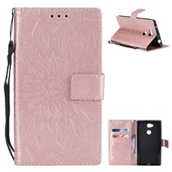 Embossing Sunflower Leather Wallet Case for Sony Xperia L2 - Rose Gold