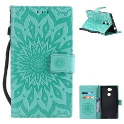 Embossing Sunflower Leather Wallet Case for Sony Xperia L2 - Green
