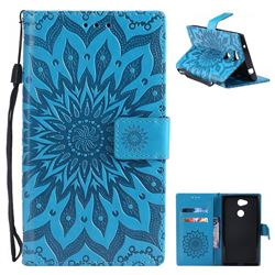 Embossing Sunflower Leather Wallet Case for Sony Xperia L2 - Blue