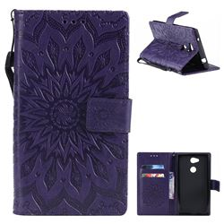 Embossing Sunflower Leather Wallet Case for Sony Xperia L2 - Purple