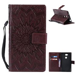 Embossing Sunflower Leather Wallet Case for Sony Xperia L2 - Brown