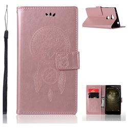Intricate Embossing Owl Campanula Leather Wallet Case for Sony Xperia L2 - Rose Gold