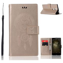 Intricate Embossing Owl Campanula Leather Wallet Case for Sony Xperia L2 - Champagne