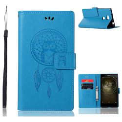 Intricate Embossing Owl Campanula Leather Wallet Case for Sony Xperia L2 - Blue