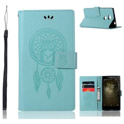 Intricate Embossing Owl Campanula Leather Wallet Case for Sony Xperia L2 - Green