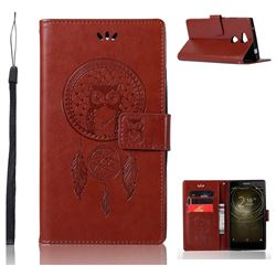 Intricate Embossing Owl Campanula Leather Wallet Case for Sony Xperia L2 - Brown