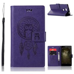 Intricate Embossing Owl Campanula Leather Wallet Case for Sony Xperia L2 - Purple