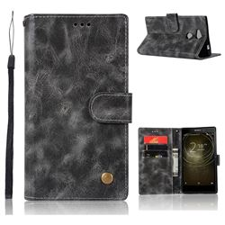 Luxury Retro Leather Wallet Case for Sony Xperia L2 - Gray