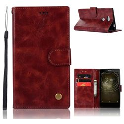 Luxury Retro Leather Wallet Case for Sony Xperia L2 - Wine Red