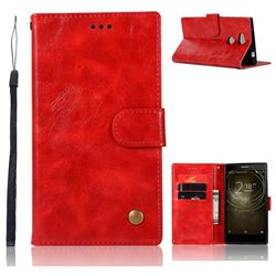 Luxury Retro Leather Wallet Case for Sony Xperia L2 - Red