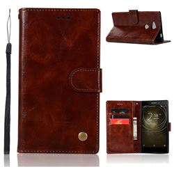 Luxury Retro Leather Wallet Case for Sony Xperia L2 - Brown