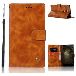 Luxury Retro Leather Wallet Case for Sony Xperia L2 - Golden