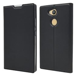 Ultra Slim Card Magnetic Automatic Suction Leather Wallet Case for Sony Xperia L2 - Star Grey