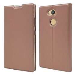 Ultra Slim Card Magnetic Automatic Suction Leather Wallet Case for Sony Xperia L2 - Rose Gold