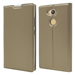Ultra Slim Card Magnetic Automatic Suction Leather Wallet Case for Sony Xperia L2 - Champagne