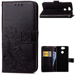 Embossing Imprint Four-Leaf Clover Leather Wallet Case for Sony Xperia L2 - Black