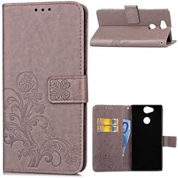 Embossing Imprint Four-Leaf Clover Leather Wallet Case for Sony Xperia L2 - Grey
