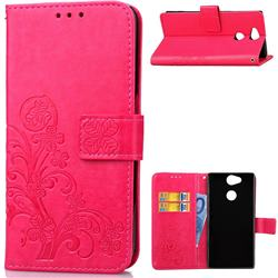 Embossing Imprint Four-Leaf Clover Leather Wallet Case for Sony Xperia L2 - Rose