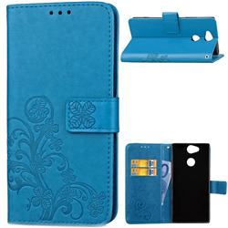 Embossing Imprint Four-Leaf Clover Leather Wallet Case for Sony Xperia L2 - Blue