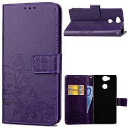 Embossing Imprint Four-Leaf Clover Leather Wallet Case for Sony Xperia L2 - Purple