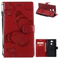 Embossing 3D Butterfly Leather Wallet Case for Sony Xperia L2 - Red