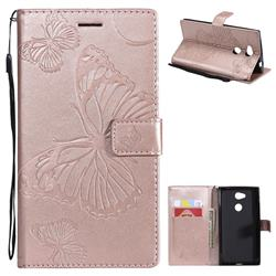 Embossing 3D Butterfly Leather Wallet Case for Sony Xperia L2 - Rose Gold